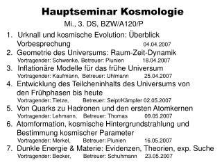 Hauptseminar Kosmologie