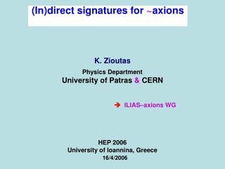 (In)direct signatures for  ~ axions