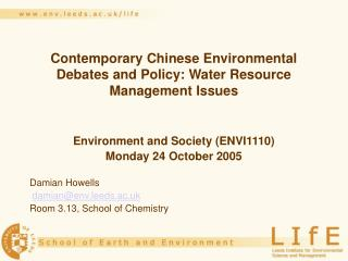 Contemporary Chinese Environmental Debates and Policy: Water Resource Management Issues