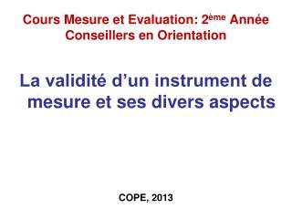 Cours Mesure et Evaluation: 2 ème  Année Conseillers en Orientation