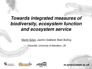 Towards integrated measures of biodiversity, ecosystem function and ecosystem service