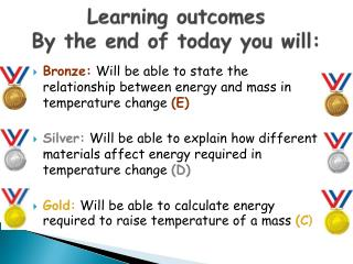 Learning outcomes By the end of today you will: