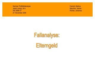 Seminar PolitikfeldanalyseKranich, Markus Jakob Lempp, M.A.Maschke, Sabine