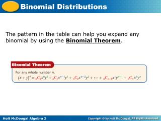 The pattern in the table can help you expand any binomial by using the  Binomial Theorem .