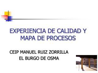 EXPERIENCIA DE CALIDAD Y MAPA DE PROCESOS