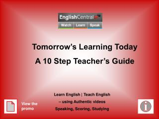 Tomorrow's Learning Today A 10 Step Teacher's Guide