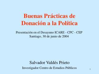 Buenas Prácticas de  Donación a la Política