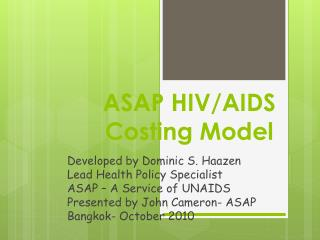 ASAP HIV/AIDS Costing Model