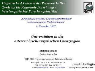 Universitäten in de r  österreichisch-ungarischen Grenzregion
