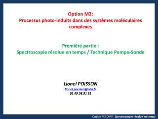 Option M2 OMP :  Spectroscopie  résolue en  temps
