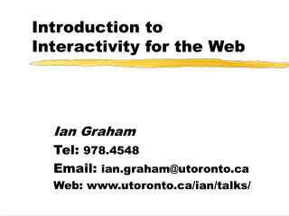 Introduction to Interactivity for the Web