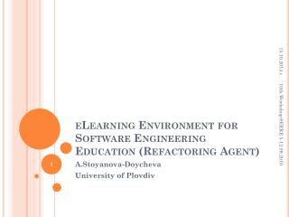 eLearning Environment for Software Engineering  Education (Refactoring Agent)