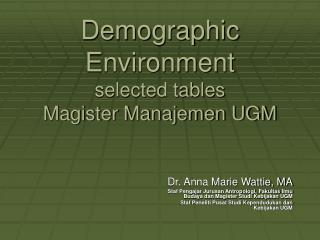 Demographic Environment selected tables Magister Manajemen UGM