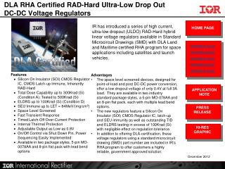 DLA RHA Certified RAD-Hard Ultra-Low Drop Out DC-DC Voltage Regulators