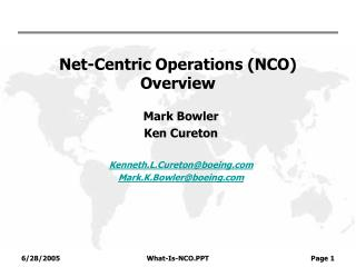 Net-Centric Operations (NCO) Overview