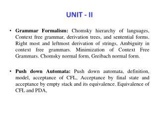 UNIT - II