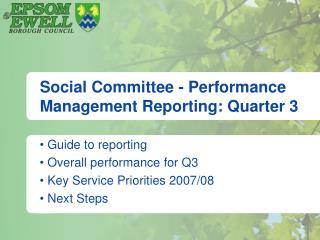 Social Committee - Performance Management Reporting: Quarter 3