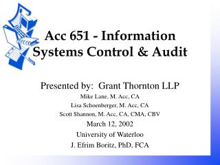 Acc 651 - Information Systems Control & Audit