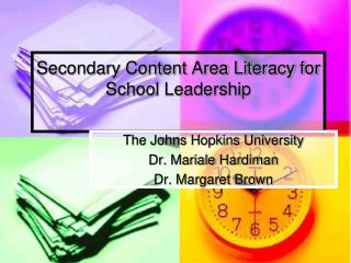 Secondary Content Area Literacy for School Leadership