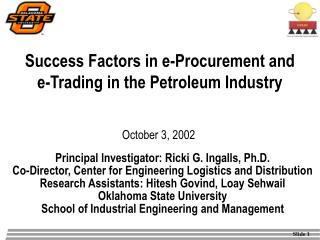 Success Factors in e-Procurement and e-Trading in the Petroleum Industry