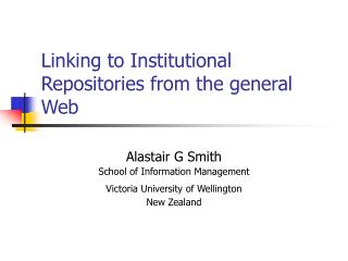 Linking to Institutional Repositories from the general Web