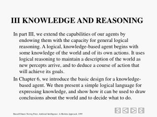 III KNOWLEDGE AND REASONING