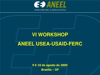 VI WORKSHOP  ANEEL USEA-USAID-FERC  9 E 10 de agosto de 2005 Brasília – DF