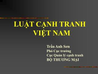 LU ẬT CẠNH TRANH VIỆT NAM