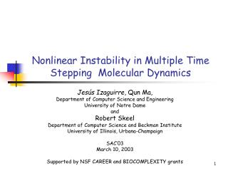 Nonlinear Instability in Multiple Time Stepping  Molecular Dynamics