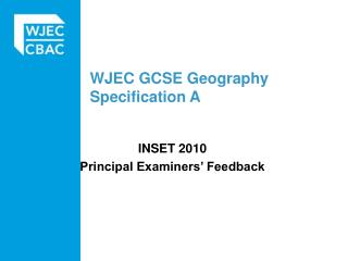 WJEC GCSE Geography Specification A