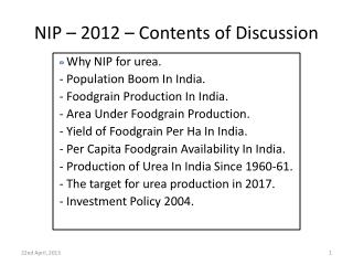 NIP � 2012 � Contents of Discussion