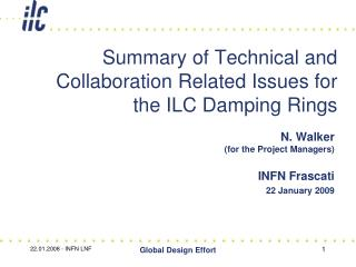 Summary of Technical and Collaboration Related Issues for  the ILC Damping Rings