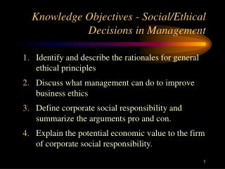 Knowledge Objectives - Social
