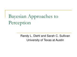 Bayesian Approaches to Perception