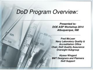 DoD Program Overview: