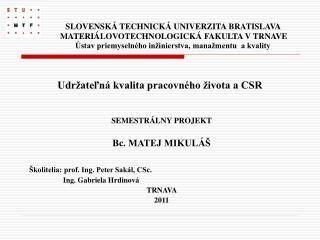 SEMESTRÁLNY PROJEKT Bc. MATEJ MIKULÁŠ Školitelia: prof. Ing. Peter Sakál, CSc.