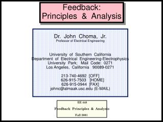 Feedback:   Principles  &  Analysis