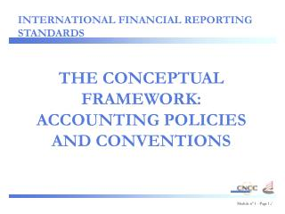 THE CONCEPTUAL FRAMEWORK: ACCOUNTING POLICIES AND CONVENTIONS
