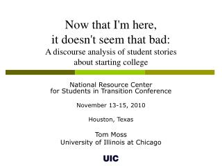 National Resource Center  for Students in Transition Conference November 13-15, 2010