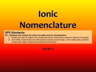 Ionic  Nomenclature