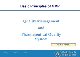 Quality Management  and  Pharmaceutical Quality System