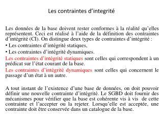 Les contraintes d� integrit�