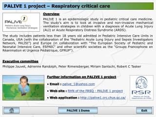 PALIVE 1 project – Respiratory critical care