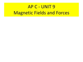AP C - UNIT 9 Magnetic Fields and Forces