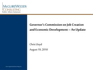 Governor's Commission on Job Creation and Economic Development – An Update