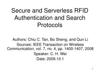 Secure and Serverless RFID Authentication and Search Protocols
