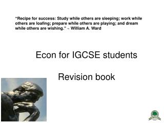 Econ for IGCSE students  Revision book