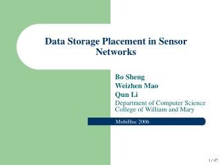 Data Storage Placement in Sensor Networks