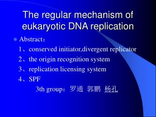 The regular mechanism of eukaryotic DNA replication