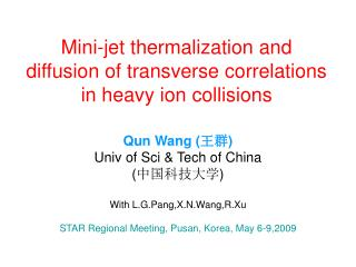 Mini-jet thermalization and diffusion of transverse correlations in heavy ion collisions